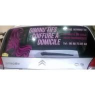 Lettrage publicitaire pour véhicule : Smart, Clio, Peugeot 206, Citroen C2, C3
