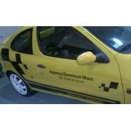 Lettrage publicitaire pour véhicule : Renault Mégane, Peugeot 307